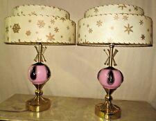 PR VINTAGE MIDCENTURY ERA MAJESTIC 2TIERED FIBERGLASS SHADES ATOMIC TABLE LAMPS