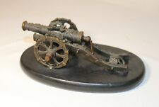 antique cast bronze and marble detailed military cannon weapon statue sculpture