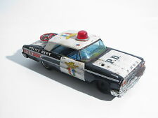 AUTO 25 CM IN LATTA FORD POLICE WITH SIREN SOUND OLD TIN TOY ASC MADE IN JAPAN
