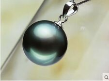 14mm Black Mother Of Pearl Shell Pearl Round Pendant Necklace 18''