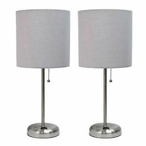 LimeLights Stick Lamp with Charging Outlet and Fabric Shade Two Pack Set