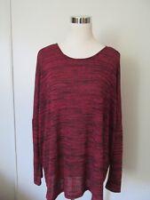 Umgee Red Long Drop Sleeve Stretch Knit Sweater Top EUC SZ: L
