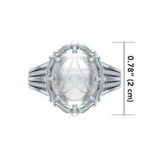 Quartz Crystal Gemstone Pentacle .925 Sterling Silver Ring Peter Stone Jewelry