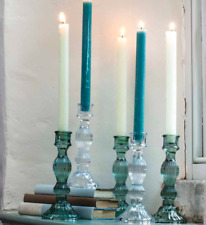 Glass Candlesticks Vintage Chic Ornate Glass Colours 2 Sizes Embossed Glass
