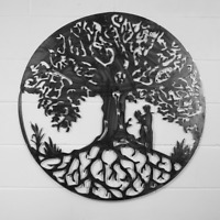 Tree of life with couple wall art Solid Steel Metal hand finished, gift,