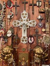 """Exquisite Antique Pearled Celluloid 9"""" Crucifix Rare 1960's Catholic Altar Cross"""