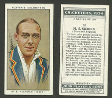 PLAYER'S 1934 CRICKETERS M.S.NICHOLS Card No 20 of 50 CRICKET CIGARETTE CARD