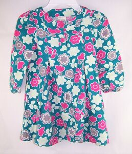 Girls LAURA ASHLEY teal pink gray floral cotton dress 5 pleated boho western
