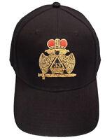 Masonic Baseball Cap - Scottish Rite Wings DOWN Crown. 33rd Degree Black Hat