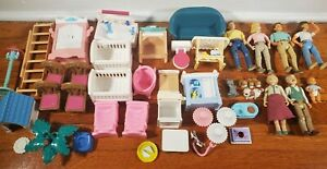 Vtg 1990s Fisher Price Loving Family Big Lot 40 Figures Accessories Furniture