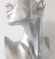 """Gorgeous 5"""" long silver tone & double heart chain tassel drop earrings  * NEW *"""