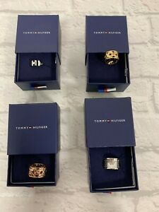 Tommy Hilfiger Ring Rose Gold Silver Jewellery Women's Sizes N O P
