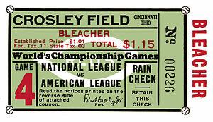 1939 World Series Game 4 Ticket Stub Yankees vs. Reds Crosley Field, 6x10 Photo