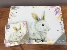 NEW 8 Piece Set Rabbit & Squirrel Animal Nature 4 Placemats & 4 Coasters Dining