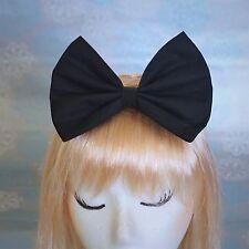 Black Retro Hair Bow Clip GAGA Lolita 50s Rockabilly Pin Up Shiny Accessory