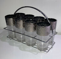 8 Vintage Dorothy Thorpe Style Textured Silver & White Tumblers With Caddy