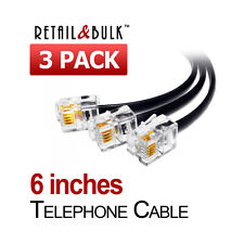 ( 3 Pack ) 6 Inch Short Telephone Cable RJ11 (6P4C) 6in Phone Line Cord
