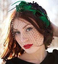 Green And Black Birdcage Veil Headpiece Fascinator