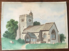 c1840 -  Yorkshire Church  - watercolour drawing.