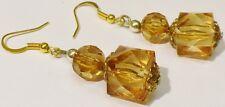 boucles d'oreilles percées bijou vintage couleur or tombante perle ambré *2131