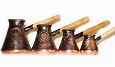 SET of 4 COPPER POT ARMENIAN TURKISH COFFEE POT MAKER CEZVE JEZVE IBRIK Handmade