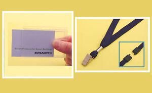 Single Card Kit: Rigid Badge Holder & Blue Lanyard
