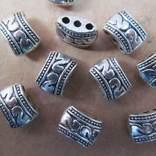 100PC 8*11mm Retro Tibet Silver 3 Holes Carved Spacer Beads Charms PJ004