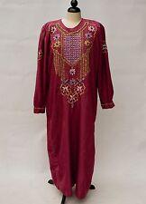 Vintage MAROON Indian kaftan djellaba Robe COLORED BEADS Embroidered LARGE