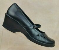 Clarks Black Leather Mary Jane Buckle Wedge Heel Shoes 70180 Women's 11 M