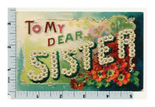 To My Dear Sister Postcard | Flowers Forget Me Nots | Large Letter Postcard