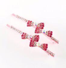 USA Bobby Pin Rhinestone Crystal Hair Clip Hairpin Jeweled Bow Elegant Pink 37