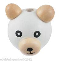 5 Weiß Bär Holzperlen zum Fädeln Speichelfest 2.6x2.9cm