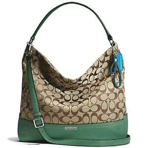 COACH Park Signature Hobo Green/Khaki Canvas Shoulder Crossbody Bag F23279