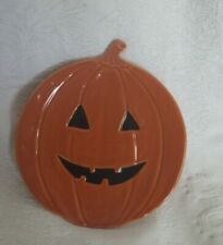 "Pottery Barn Halloween Pumpkin Face Plate 8"" Diameter Nwot"