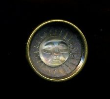 Antique Button...Wonderful Little Glass Moon Face Set In Metal