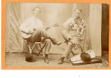 Real Photo Postcard RPPC -Two Men with Guitar and Violin - Music