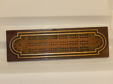 vtg Brass & WOODEN CRIBBAGE card game metal  BOARD old UNIQUE