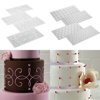 2 Styles Cakes Decorating Tools 4-Piece Quilted Fondant Imprint Mat Set, Clear