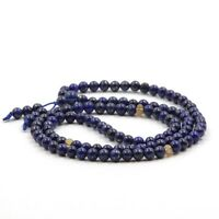 6mm 108 Blue Lapis Lazuli Gemstone Bracelet Tibet Buddhist Prayer Mala Necklace