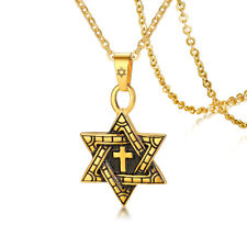 Religious Jewelry Stainless Steel Star Of David with Cross Pendant Necklace