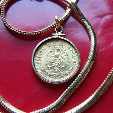 """Gold Filled Mexican Silver 1940 Pendant on a 28"""" Gold Filled Foxtail Chain 20MM"""