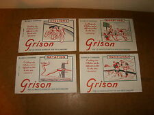 4 buvards - GRISON série Sports - années 50 - BASKET BALL + NATATION + HOCKEY...