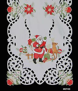 Holiday Christmas Santa Reindeer Placemat Table Cloth Runner Mantel Scarf White