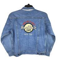 Vintage Hard Rock Cafe New York SAVE THE PLANET Medium Denim Jacket Mens Trucker