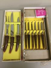 Vintage Lifetime Cutlery 6 Steak Knives & Carving Set Stag Antler Handles