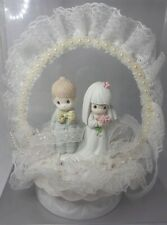 """VINTAGE Classic LOVE"""" PRECIOUS MOMENTS LACE Wedding CAKE TOPPER"""