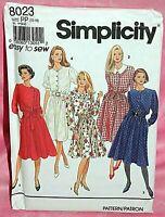 Uncut Simplicity Sz 12-18 Front Button Flared Dress Bodice Variation Pattern8023