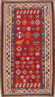 Tribal Hand Woven Wool Animal Design Geometric Nomad Kilim Oriental Area Rug 5x9