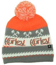 Hurley Men's Original Palm Knit Pom Beanie - Grey/Orange