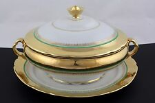 VICTORIA CZECHOSLOVAKIA CHINA COVERED SERVING BOWL W/UNDERPATE, 24KT GOLD - MINT